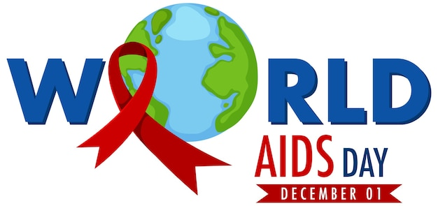 World aids day logo or banner with red ribbon and the earth