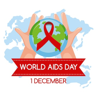 World aids day logo or banner with red ribbon on world map background
