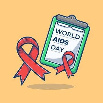 クリップボードの漫画イラストの世界エイズデー