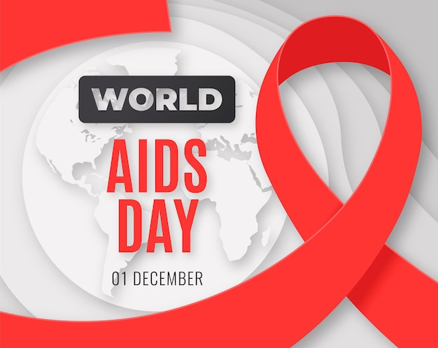 World aids day in paper style background
