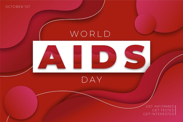 World aids day in paper style wallpaper