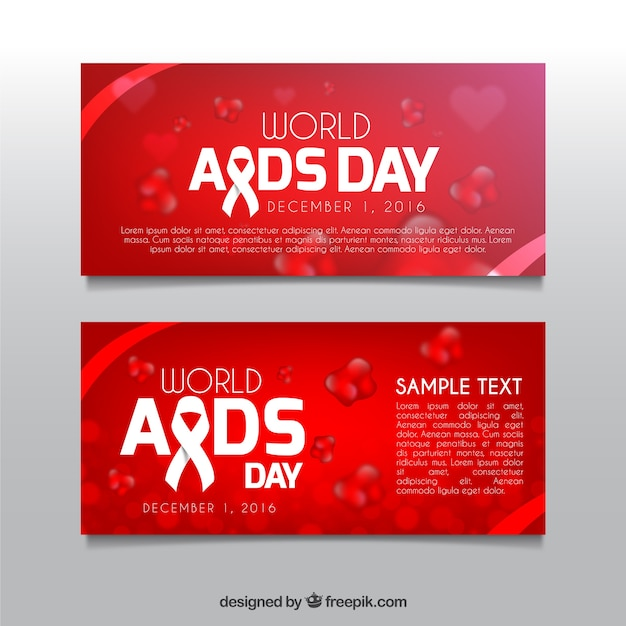 World aids day red banners