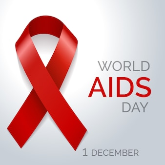 World aids day red ribbon poster
