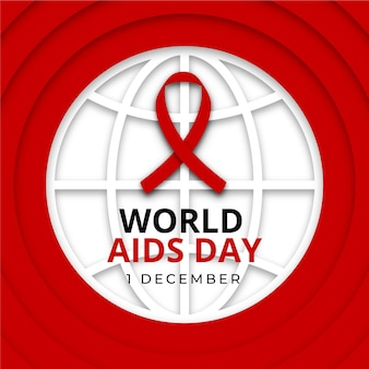 World aids day ribbon on earth globe in paper style