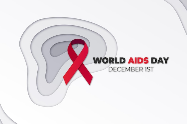 World aids day ribbon in paper style with date