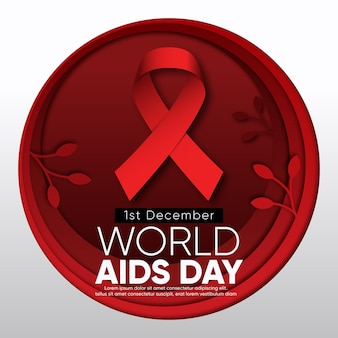 World aids day ribbon in paper style