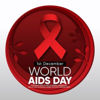 Nastro della giornata mondiale contro l'aids in stile carta