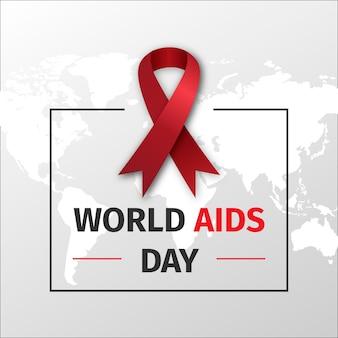 World aids day ribbon on world map