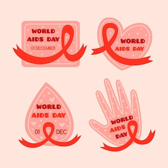 World aids day ribbons badges pack