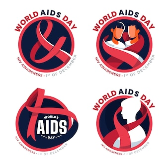 World aids day ribbons badges