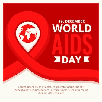 World aids day symbol with date