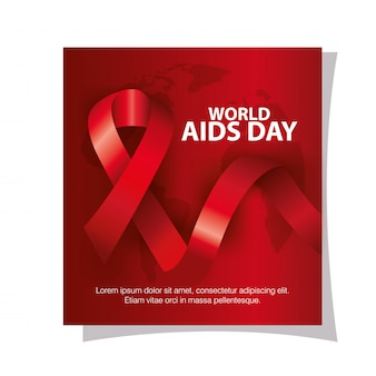 World aids day with hand and ribbon banner