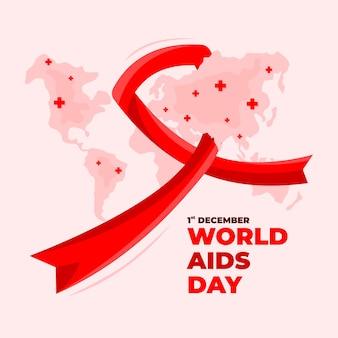 地図の背景を持つ世界エイズデー