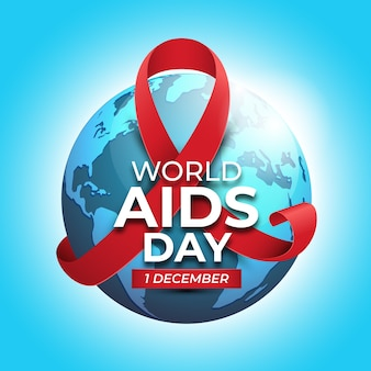 World aids day with red ribbon on earth