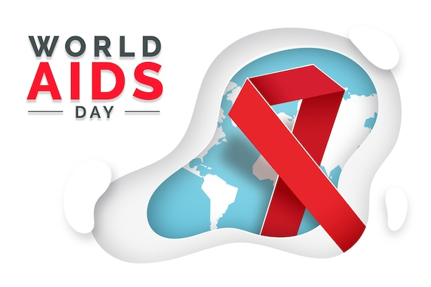 World aids day with ribbon in paperstyle