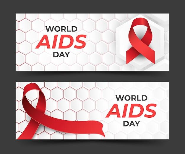 シンプルな六角形のバナーで世界エイズデー