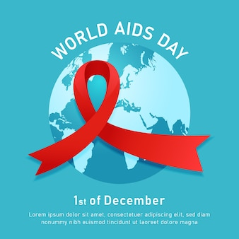 World aids hiv day event poster with red ribbon symbol and blue round world map vector illustration background