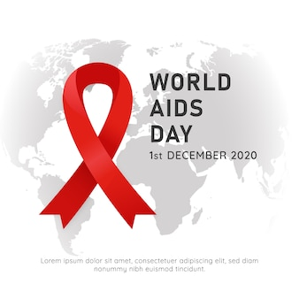 World aids hiv day event poster with red ribbon symbol and white background world map vector illustration