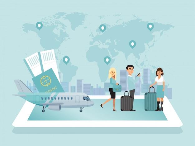 世界の空港、キャラクターの男性、女性の航空機の乗務員、乗客、コンセプトフラットイラスト。世界地図、乗客の飛行機。