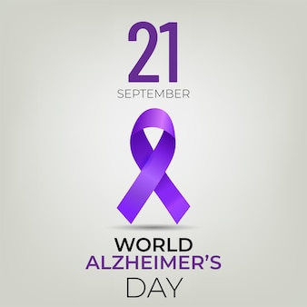 World alzheimer's day banner with purple ribbon on light background.