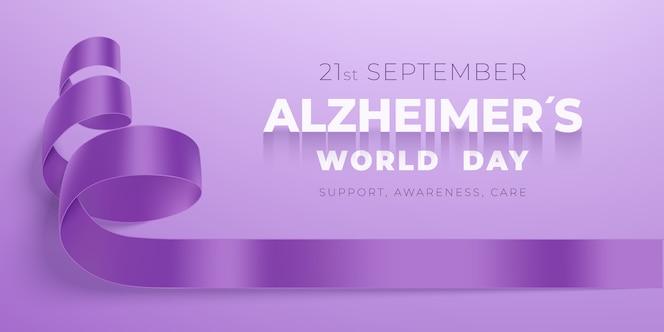 紫の背景にリボンと世界のアルツハイマー病の日のコンセプト。パープルリボンデー