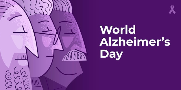 World alzheimer's day poster in violet colors