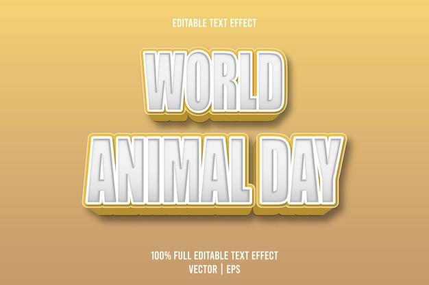 Редактируемый текстовый эффект всемирного дня животных 3-х мерное тиснение мультяшном стиле