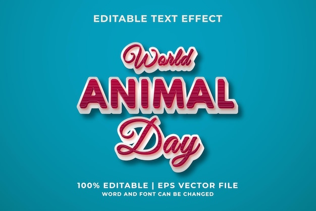 세계 동물의 날 편집 가능한 텍스트 효과 템플릿 복고 스타일 premium vector