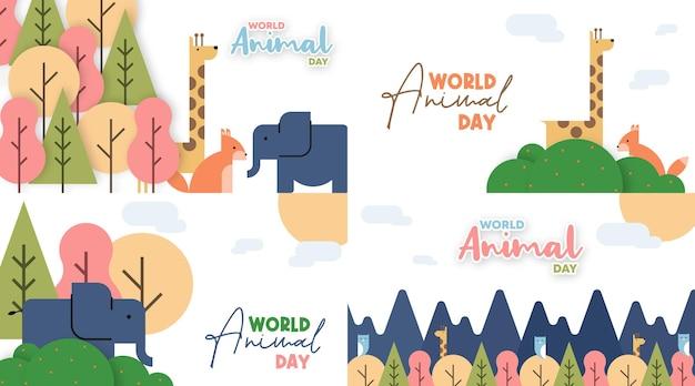 World animal day illustration in flat cartoon style