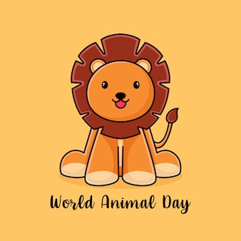 World animal day poster design template with cute lion icon