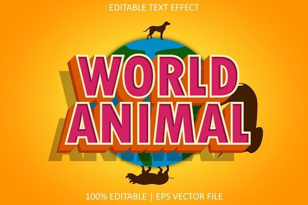 モダンなスタイルの編集可能なテキスト効果を持つ世界の動物