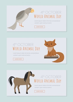 World animals day landing pages set. saving domestic and wild animals, domesticated birds event
