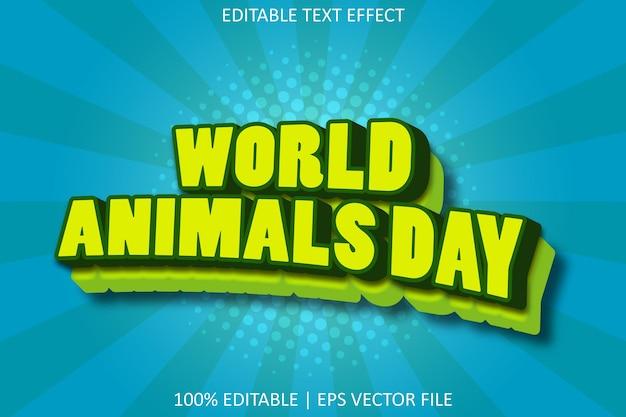 漫画のエンボススタイルの編集可能なテキスト効果を持つ世界動物の日