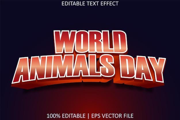 モダンなスタイルの編集可能なテキスト効果を持つ世界動物の日