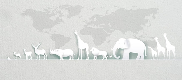World animals day with world map deer, elephant, lion, giraffe, rabbit, rhinoceros in paper art, paper cut and origami craft style. illustration world animal wildlife day in paper texture.