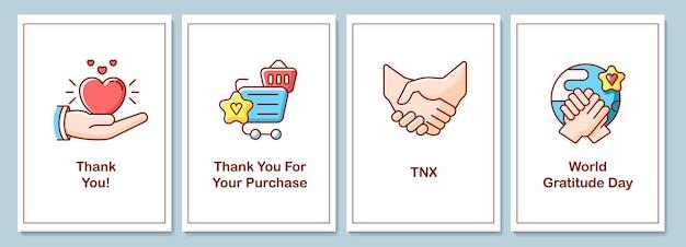 Поздравительные открытки празднования всемирного дня признательности с набором цветных элементов значка. открытка векторный дизайн. декоративный флаер с творческой иллюстрацией. записная карточка с поздравительным сообщением