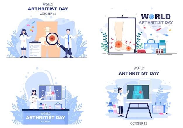 Всемирный день артрита фон векторные иллюстрации лечение ревматизма, остеоартрита, рентгеновского сканирования и здоровья костей