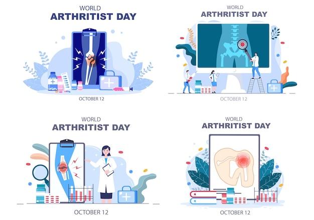 世界関節炎の日の背景ベクトルイラスト医療治療リウマチ、変形性関節症、x線スキャンと骨の健康