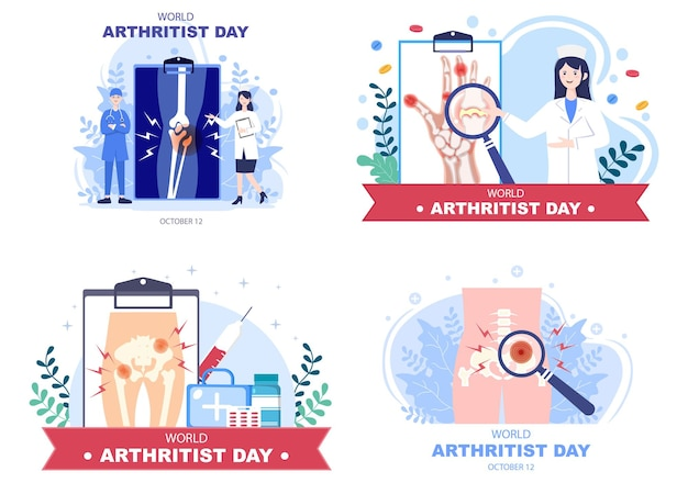 World arthritis day background vector illustration medical treat rheumatism, osteoarthritis, x ray scan and bone health