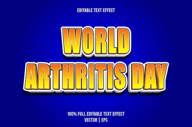 World arthritis day editable text effect 3 dimension emboss cartoon style