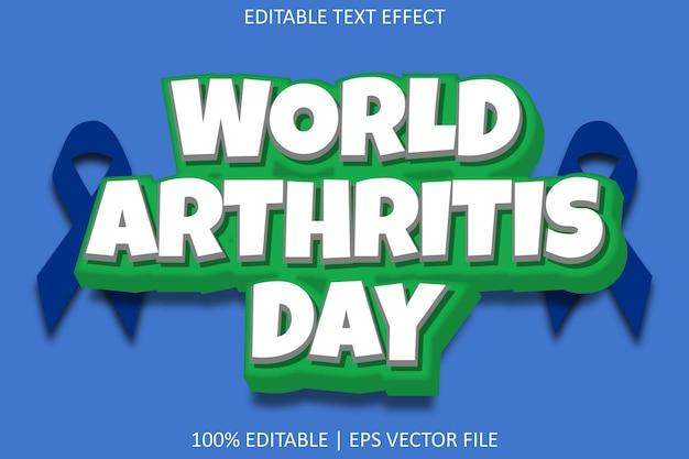 World arthritis day with cartoon emboss style editable text effect
