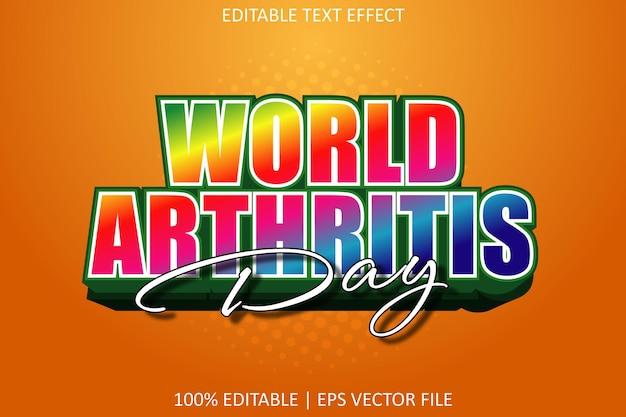 World arthritis day with modern style editable text effect