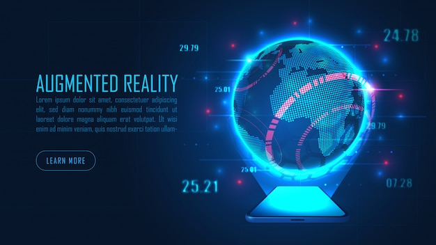 World augmented reality from smartphone in futuristic background concept