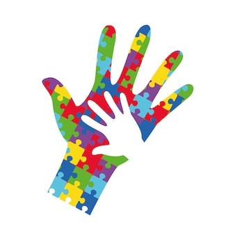 World autism awareness day banner with white hands of adults and children. jigsaw puzzle multicolored puzzle. volunteer therapy, help for autists.. logo symbol