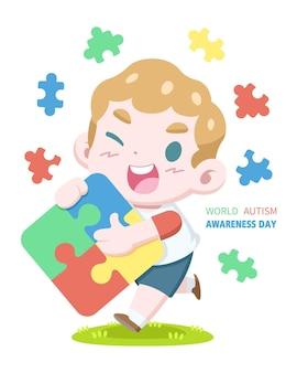 World autism awareness day with boy hugging jigsaw puzzle cartoon illustration