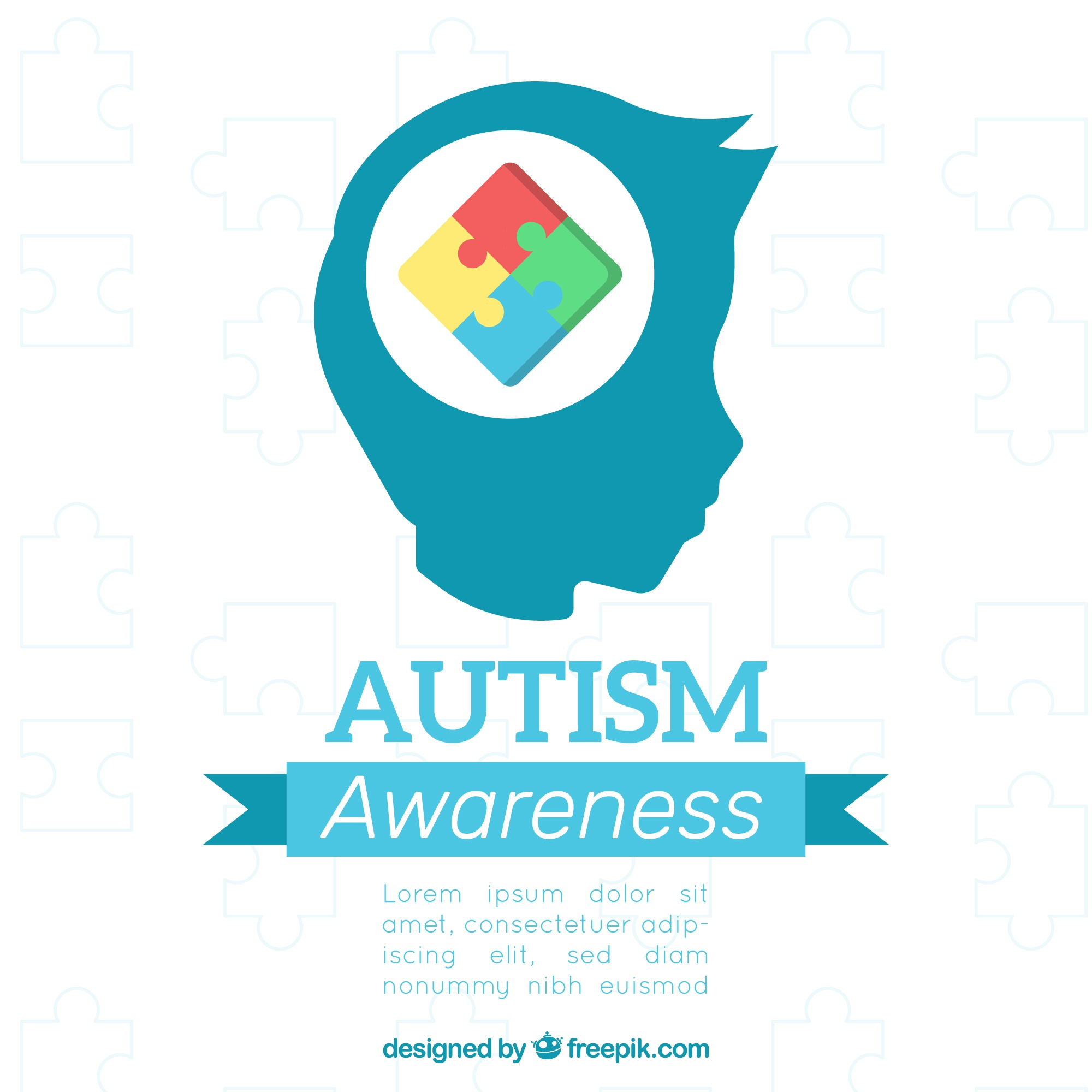 World autism day background with puzzle pieces in flat style