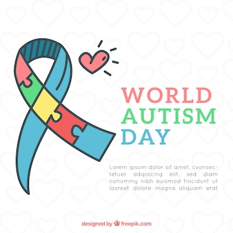 World autism day background with puzzle pieces in hand drawn style