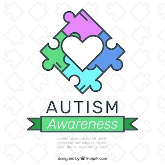 Всемирный день аутизма фон с кусочками головоломки в ручном стиле