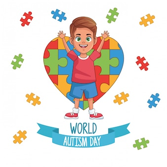 World autism day boy with puzzle heart vector illustration design