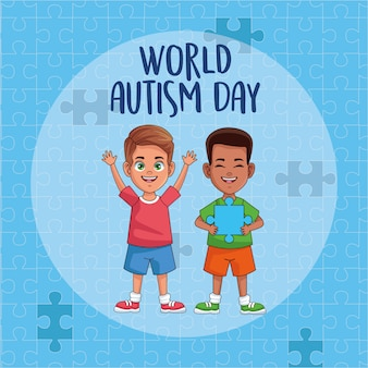 World autism day boys with puzzle pieces vector illustration design
